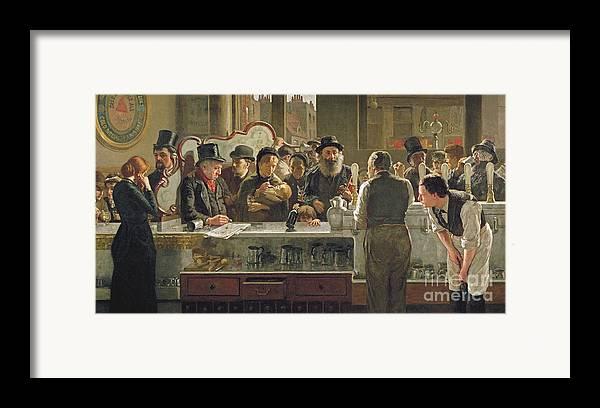 Drinking;drink;social;pub;landlord;barman;barmen Framed Print featuring the painting The Public Bar by John Henry Henshall