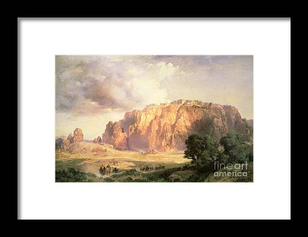 The Pueblo Of Acoma Framed Print featuring the painting The Pueblo Of Acoma In New Mexico by Thomas Moran