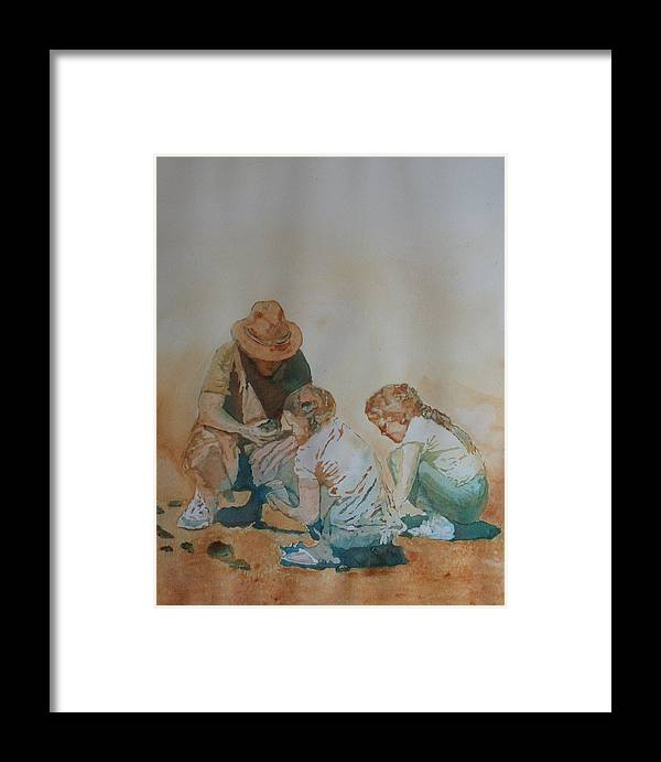Fathers Framed Print featuring the painting The Pumice Seekers by Jenny Armitage
