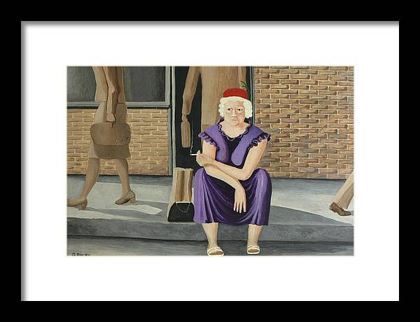 Figurative Framed Print featuring the painting The Purple Dress by Georgette Backs