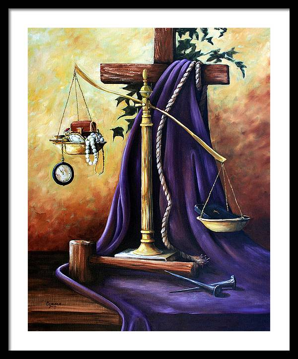 Oil Painting Framed Print featuring the painting The Purple Robe by Cynara  Shelton 750b87892