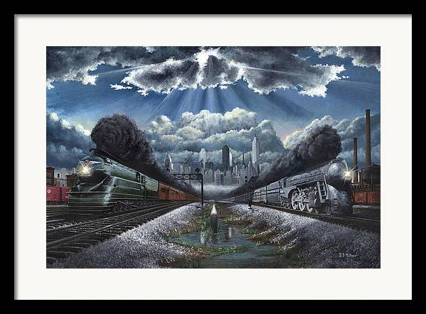 Trains Framed Print featuring the painting The Race by David Mittner
