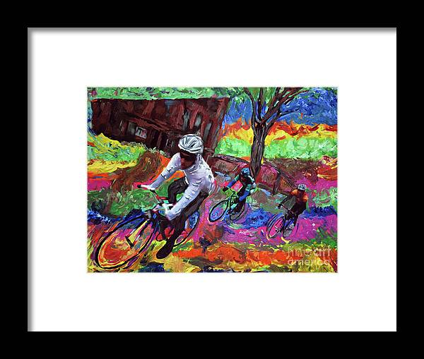 Bikes Framed Print featuring the painting The Race by Donald Pavlica
