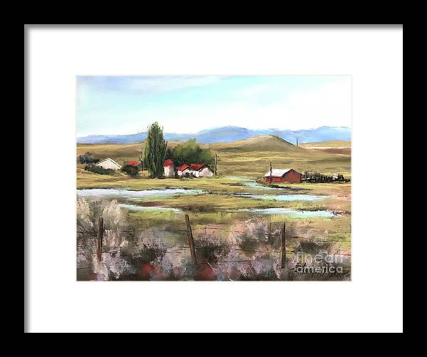 Pastel Framed Print featuring the painting The Ranch by Bonnie Zahn Griffith
