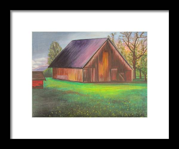 Oil Framed Print featuring the painting The Ranch by Leslie Gustafson