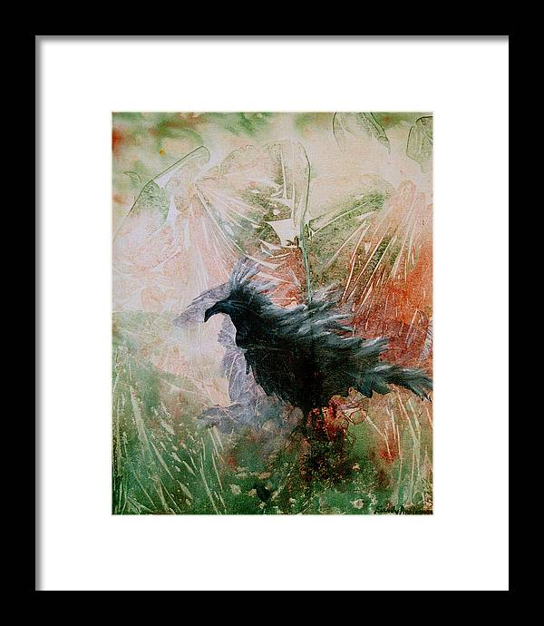 Raven Framed Print featuring the painting The Raven Sitting Lonely by Sandy Applegate