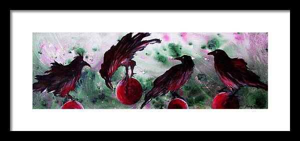 Raven Framed Print featuring the painting The Raven Still Beguiling by Sandy Applegate