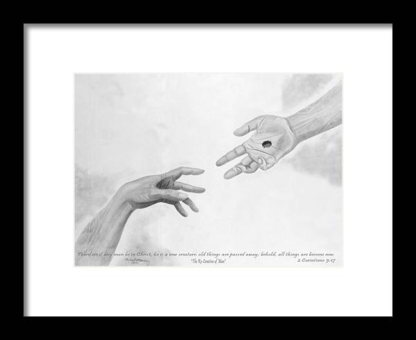 Religion Framed Print featuring the drawing The Re-creation Of Man by Michael McFerrin
