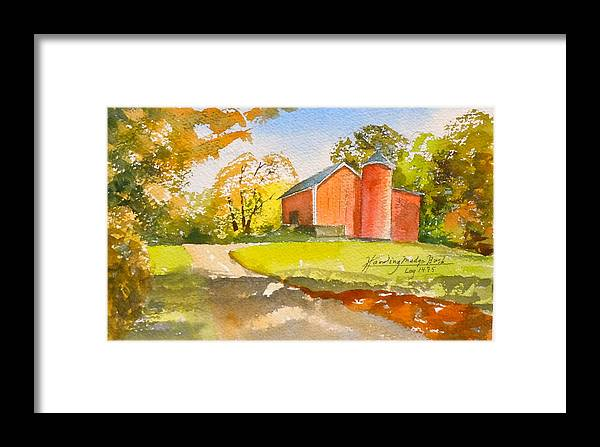 New England Barn. Framed Print featuring the painting The Red Barn by Harding Bush
