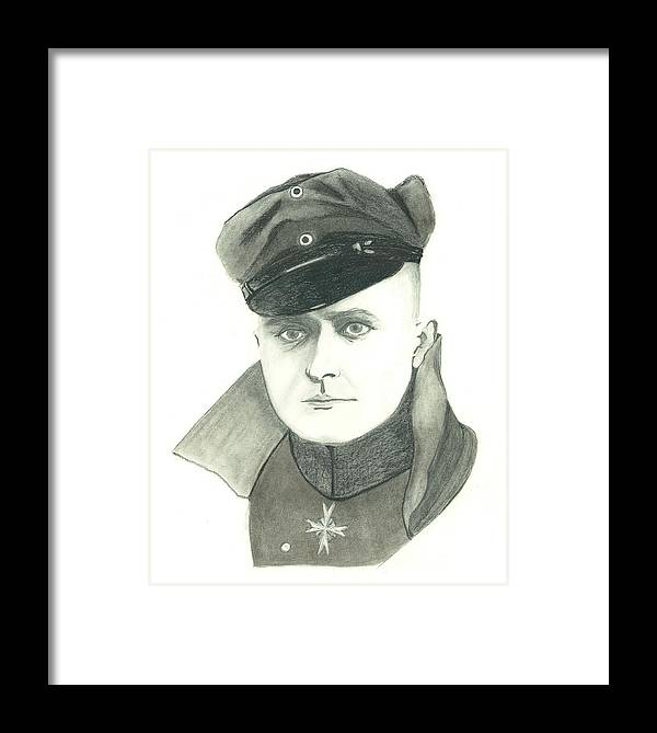 The Red Baron Framed Print featuring the drawing The Red Baron by Seventh Son