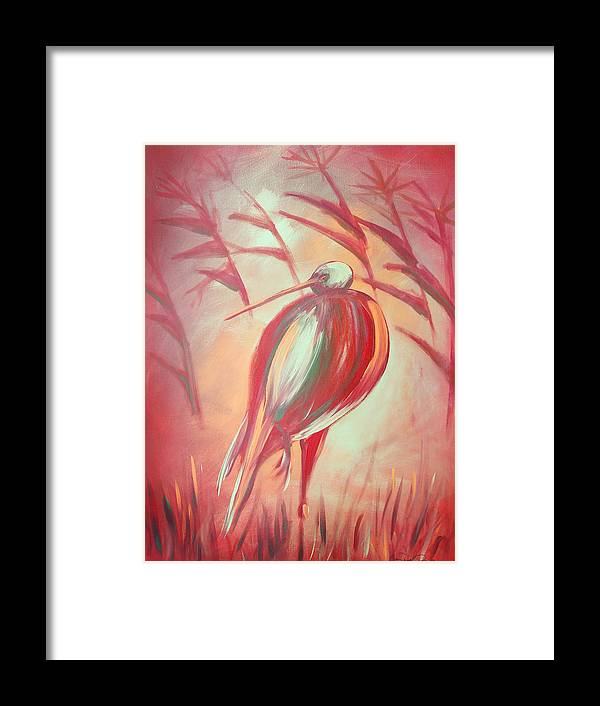 Bird Framed Print featuring the painting The Red Bird by Gina De Gorna