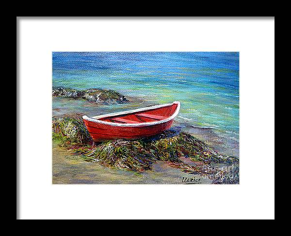 Boat Framed Print featuring the painting The Red Boat by Jeannette Ulrich