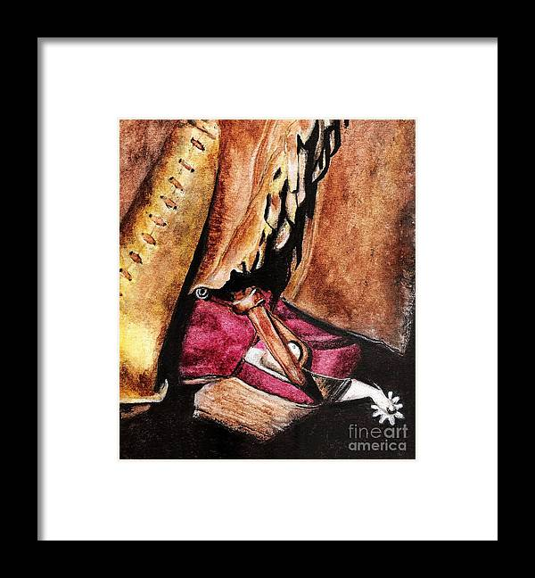 Western Boots Framed Print featuring the painting The Red Boot by Frances Marino