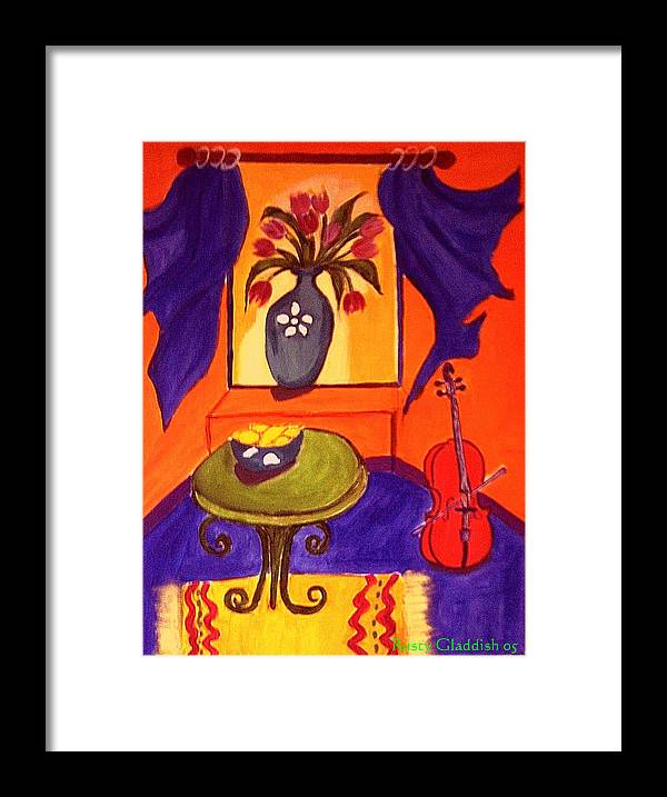 Cello Framed Print featuring the painting The Red Cello by Rusty Gladdish