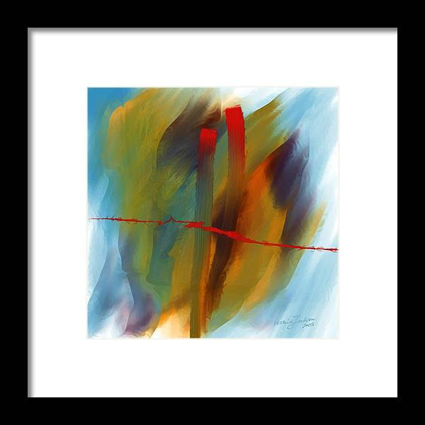 Red Abstract Lines Soft Moves Air Water Framed Print featuring the digital art The Red Line by Veronica Jackson