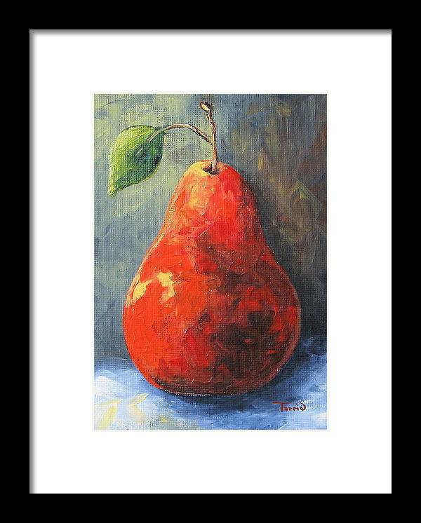 Pear Framed Print featuring the painting The Red Pear II by Torrie Smiley