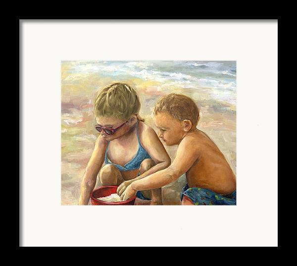 Portrait Framed Print featuring the painting The Red Sand Bucket by Linda Vespasian