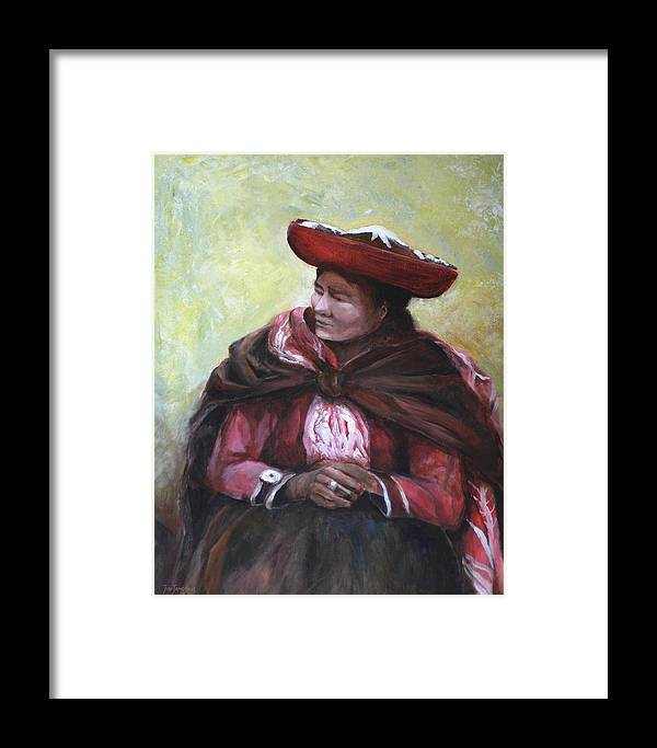 Peru Framed Print featuring the painting The Red Shawl by Jun Jamosmos