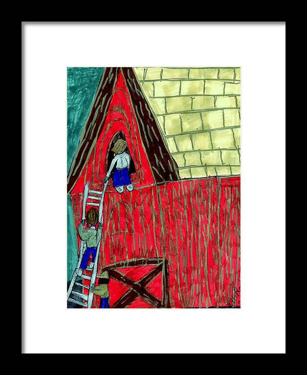 Shed With Children Trying To Enter It Framed Print featuring the mixed media The Red Shed Club House That Dad Built by Elinor Helen Rakowski