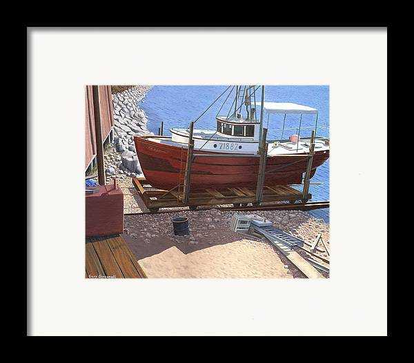 Fishing Boat Framed Print featuring the painting The Red Troller by Gary Giacomelli