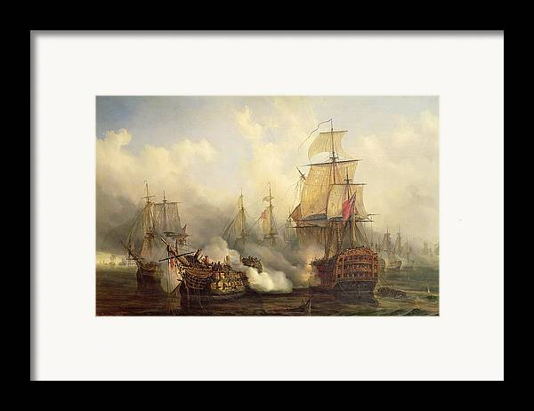 The Framed Print featuring the painting The Redoutable At Trafalgar by Auguste Etienne Francois Mayer