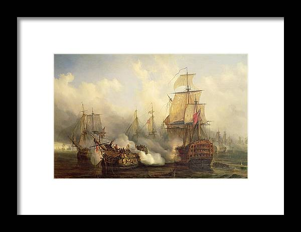The Framed Print featuring the painting Unknown Title Sea Battle by Auguste Etienne Francois Mayer