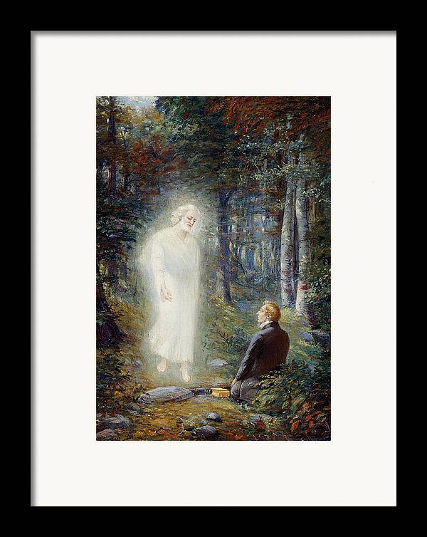Angel Moroni Framed Print featuring the painting The Restoration by Lewis A Ramsey