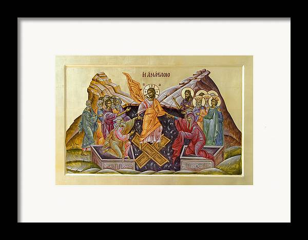 Icon Framed Print featuring the painting The Resurrection Of Christ by Julia Bridget Hayes