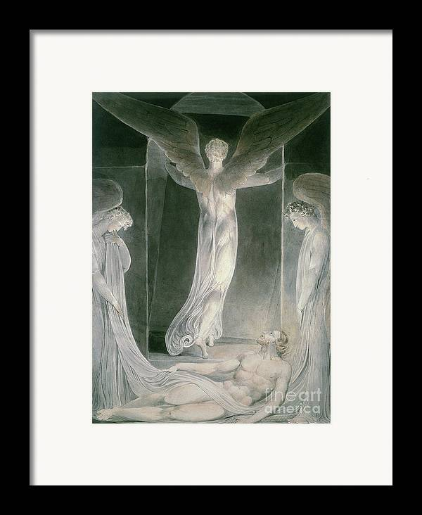 The Resurrection: The Angels Rolling Away The Stone From The Sepulchre By William Blake (1757-1827) Framed Print featuring the drawing The Resurrection by William Blake