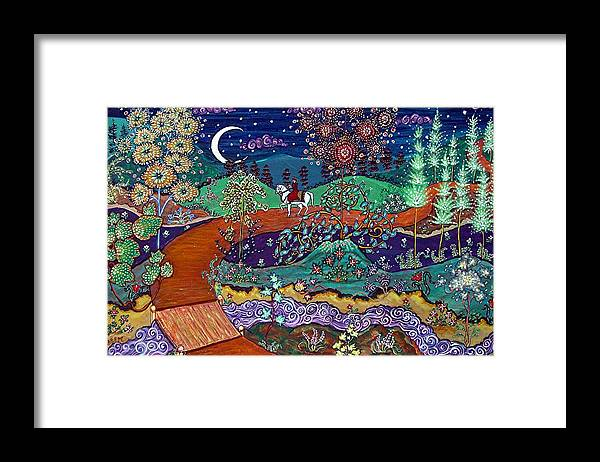 Night Framed Print featuring the painting The Return by Caroline Eve Urbania