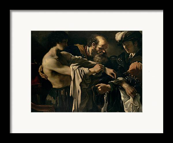 The Framed Print featuring the painting The Return Of The Prodigal Son by Giovanni Francesco Barbieri