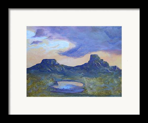 Landscape Framed Print featuring the painting The Rez After The Rain- Commision For Nigel And Laura by Ernie Scott- Dust Rising Studios