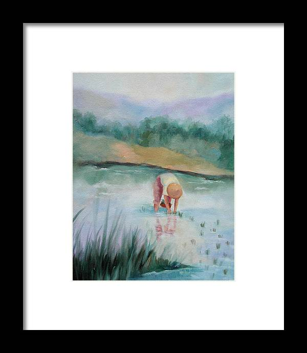 Figurative Framed Print featuring the painting The Rice Planter by Ginger Concepcion