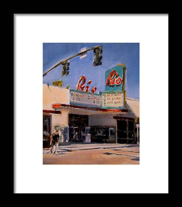 Cityscape Framed Print featuring the painting The Rio Theater by Merle Keller