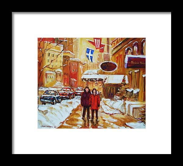Streetscene Framed Print featuring the painting The Ritz Carlton by Carole Spandau