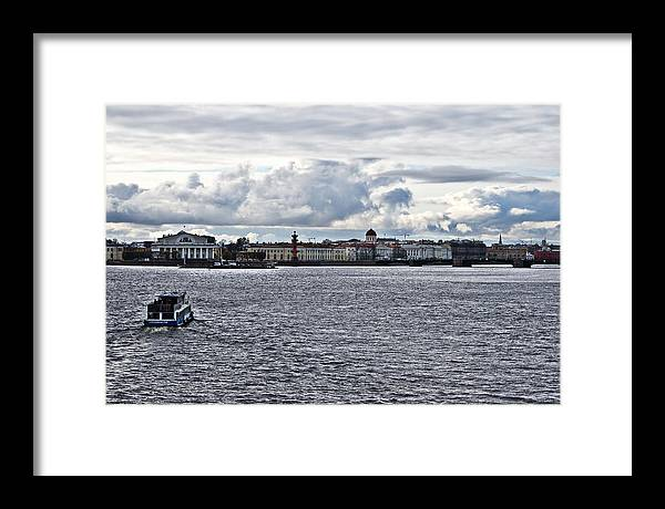 The River Framed Print featuring the photograph The River The Sky And Is A Little City by Vadim Grabbe