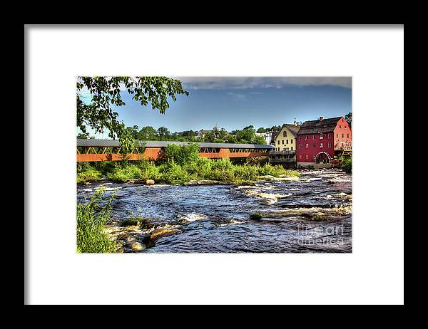 Covered Bridge In Littleton Nh Framed Print featuring the photograph The River Walk Bridge by Diana Nault