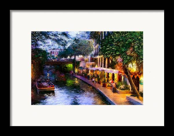 River Walk Framed Print featuring the painting The River Walk by Lisa Spencer