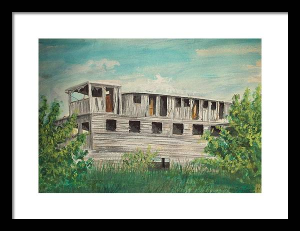Boat Framed Print featuring the painting The Riverboat Majestic by Norman F Jackson