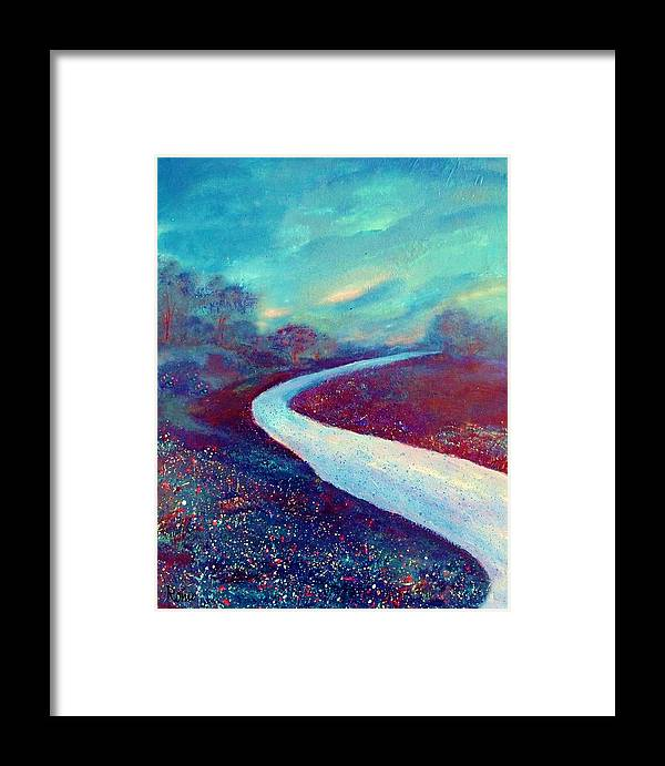 Landscape Framed Print featuring the painting The Road - New Beginnings by Robin Monroe