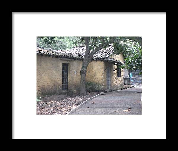 Rustic Yellow Adobe Peasant Home Framed Print featuring the photograph The Road Ends At Home by Ileana Carreno