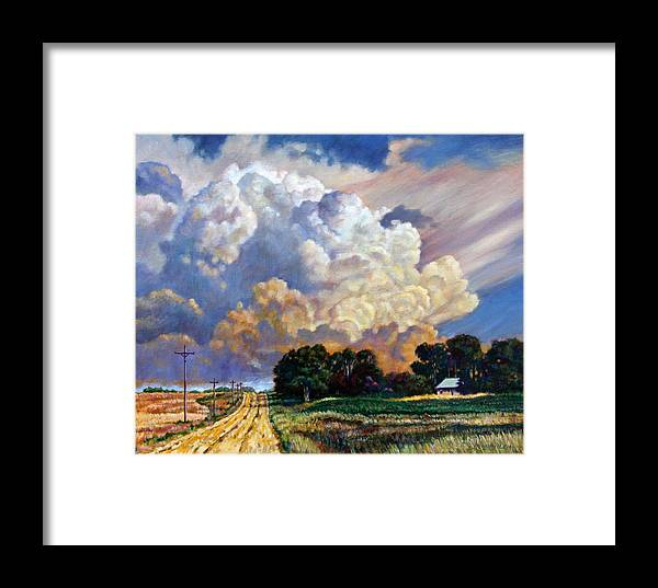 Landscape Framed Print featuring the painting The Road Home by John Lautermilch