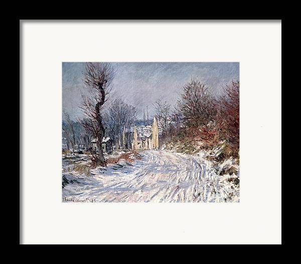 The Framed Print featuring the painting The Road To Giverny In Winter by Claude Monet
