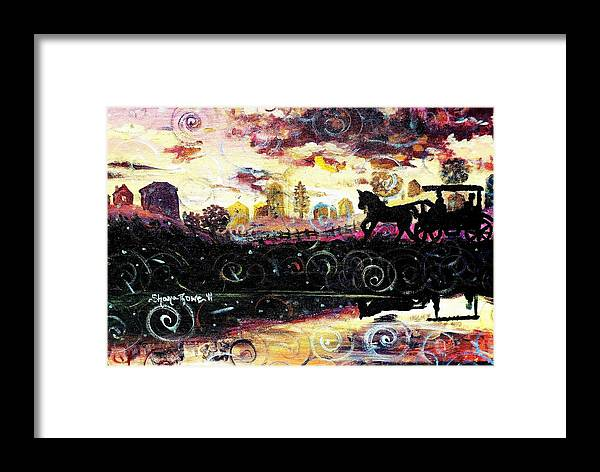 Horse And Buggy Framed Print featuring the painting The Road To Home by Shana Rowe Jackson