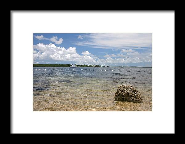 Landscape Framed Print featuring the photograph The Rock In The Bay by Dennis Curry