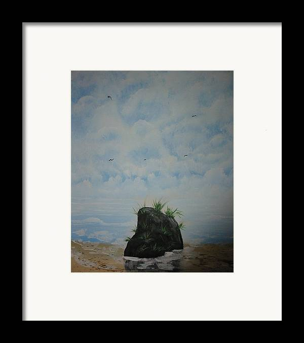 Acrylics Framed Print featuring the painting The Rock by Laurie Kidd
