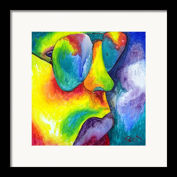 Vivid Contemporary Abstract Portrait Framed Print featuring the painting The Rock Star by Shasta Miller