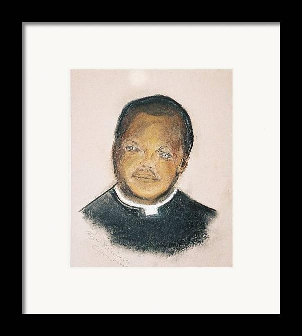 Portrait Of Roman Catholic Father Mushi Zanzabar Africa Framed Print featuring the painting The Roman Catholic Priest From Zanzibar by Alfred P Verhoeven