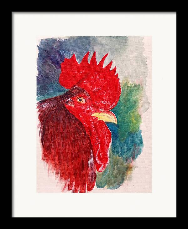 Rooster Framed Print featuring the painting The Rooster Rules by Sylvia Stone