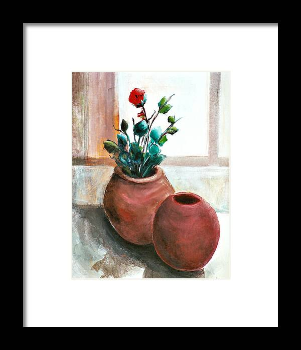 Rose Framed Print featuring the painting The Rose by Jun Jamosmos